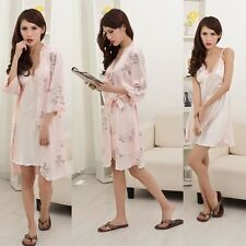 Womens Silk Blend Sleepwear Long Wear Nightgown Bath Robes 3/4 shoulder Stain