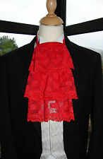 VICTORIAN/DICKENSIAN CHRISTMAS RED LACE CRAVAT / JABOT - COSTUME FANCY DRESS
