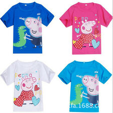 Kids Boys Girls Casual Short-sleeve T-shirts Peppa Pig Tops Shirts Clothing 2-7Y