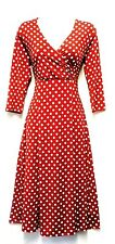 New Red Ladies Slinky Deco Polka Dot Retro WW2 Land girl 1940s 50s  Tea Dress