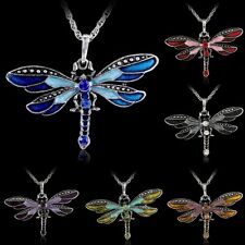 Fashion Charm Silver Jewelry Necklace Pendant Dragonfly Crystal Sweater Chain