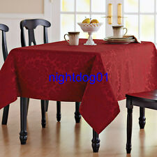 NEW CLOTH TABLECLOTH ROUND 70 OBLONG 60 X 84/102 DAMASK  Christmas Thanks