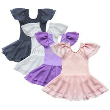 Girls Kids Tutu Skirt Ballet Dance Wear Dress Leotard Skating Gymnastics Costume