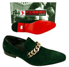 Men's New Fiesso Green Suede Slip on Shoes with Stylish Gold Chain Studs FI 6788