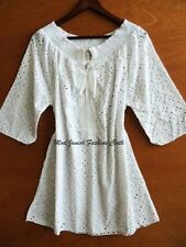 Slouchy Ivory Bohemian Boho Chic Trendy Clothing Gypsy Lace Tunic/Dress/Top