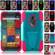 Motorola Moto X 2nd Gen (2014) Hybrid Hard Cell Phone Case+Soft Silicone Cover