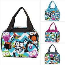 Aqua & White Chevron Owl Print Insulated Lunch Bag