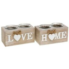 Shabby Chic Wooden Twin Candle Tea Light Holder LOVE & HOME