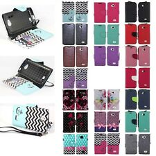 For LG Tribute / F60 / Transpyre Hybrid PU Leather Wallet Pouch Case Flip Cover