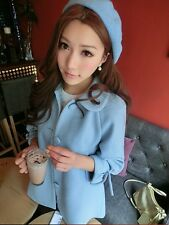 Girl Fashion 3/4 Sleeve Polo Neck Solid Wool Button Body Con Mid-Long Basic Coat