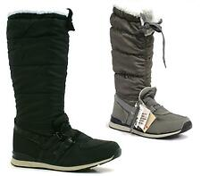 LADIES FUR LINED QUILTED TRAINERS CALF KNEE HIGH LACE UP WINTER SNOW BOOTS SHOES
