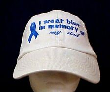 Blue Awareness Ribbon Hat I wear bue in memory of my dad Stone Baseball Cap New