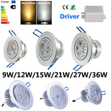 Dimmable 9W 12W 15W 21W 27W 36W LED Downlight Recessed Ceiling Light Lamp+Driver