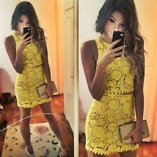 Sexy Womens Two Piece Sleeveless Crop Top Bodycon Crochet Skirt Yellow Dress Set