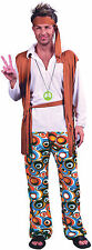 60's 70's Hippy Man Woodstock Mens Plus Size Fancy Dress Costume Size M - XXXL