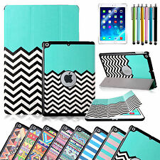 Pattern Slim Magnetic Leather Smart Cover For Apple iPad Air 1 w/ Hard Back Case