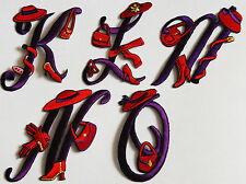 Red Hat Fabric Initial K - O / Sew or Iron-on / Crafts / Scrapbook / Gift