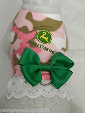 DOG CAT FERRET Harness~JOHN DEERE Pink Camo Country Girl Cowgirl Bow & Lace Trim
