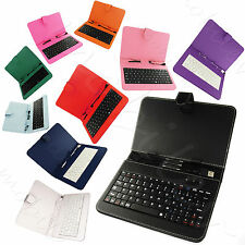 """Keyboard Case for 7"""" 8"""" Tablet PC Flip Magnetic Closure Stand Micro USB Android"""