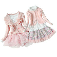 Girls Kids Outfit Set Pearl Flower Top Jacket Shirt Lace Tulle Tutu Skirt Dress