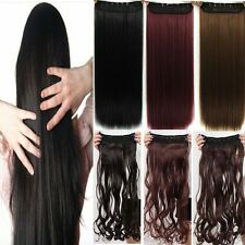 Extra long One Piece Clip on Hair Extension 3/4 Full Head Any Colors Deluxe hg