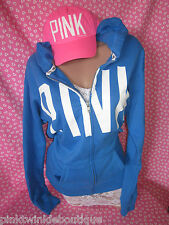 Nwt Victorias Secret BLUE Hoodie Sweatshirt Jacket Love PiNK Boyfriend Fit