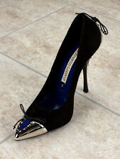 Gianmarco Lorenzi Auntetic Black   Leather Italian Shoes Size 5 Heel 3,5""