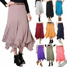 Womens Stretch Jersey Belted Hitched Up Gypsy Hippie Long Maxi Skirt Festival