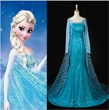 Fashion Disney Snow Ice Queen Party Costume Cosplay Elsa Dress For Adult Lady