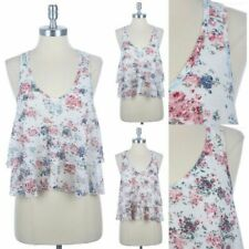 Floral Print Burn Out Ruffled Double Tiered Tank Top Sleeveless Racerback S M L