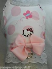 DOG CAT FERRET Travel Harness~Pink Peek a Boo HELLO KITTY Butterfly BOW & LACE