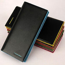 New Fashion Mens Long PU Leather Bifold Money Wallet Purse Clutch 5 Colors