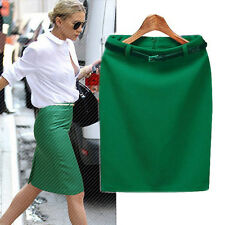 OL Lady High Waist Fit Knee Length Straight Stretch Business Pencil Skirt S-XXL