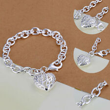 Women Silver Plated Charm Heart Crystal Chain Bracelet Bangle Fashion Jewelry