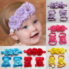 Newborn Baby Girls Toddler Colorful Flower Headband Barefoot Shoes Sandals Set
