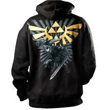 OFFICIAL ZELDA ZIP UP HOODY HOODIE ALL SIZES - Black Nintendo Bird Hyrule Logo