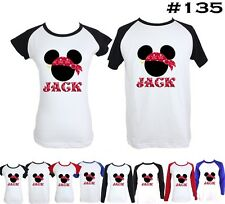 Punk Disney Mickey Mouse Captain Jack Design Boy's Girls Couple T Shirt Tee tops