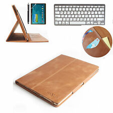 Bluetooth Keyboard + Stand Smart Real Genuine Leather Case Cover For iPad 4 3 2