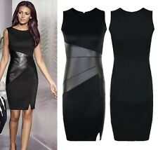 Women Summer Vestido New Slim OL Leather Patchwork Casual Pencil Dress Bodycon