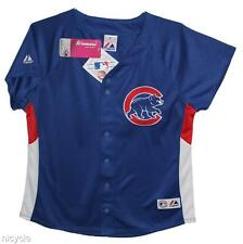 Chicago CUBS MLB MAJESTIC Blue JERSEY w Walking BEAR PATCH Womens L XL NWT