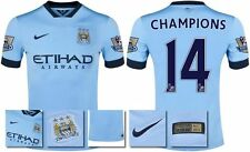*14 / 15 - NIKE ; MAN CITY HOME SHIRT SS + PATCHES / CHAMPIONS 14 = KIDS SIZE*