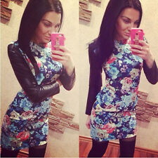 NEW Fashion Women Long Sleeve Slim Leather Patchwork Floral Print Dress So Cool