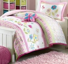 GIRLS SPRING BUTTERFLY Twin or Full Queen COMFORTER SET : PINK GINGHAM FLORAL
