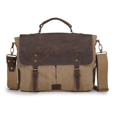 Men's Vintage Canvas Leather Briefcase Messenger Shoulder School Bag Satchel