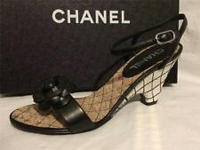 CHANEL 14C Black Leather Camellia Flower Cork Wedge Heels Sandals Shoes $1050