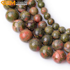 """Natural Gemstone Unakite Stone Beads For Jewelry Making 15"""" Loose Beads in Lots"""