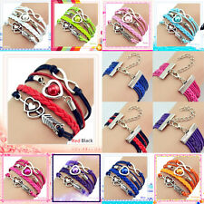 Hot Infinity Love Heart Pearl Friendship Antique Silver Leather  Charm  Bracelet