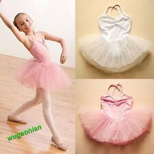 New Baby Girls Skirt Dancewear Kids Ballet Dance Leotard Strap Dress 4 Sizes