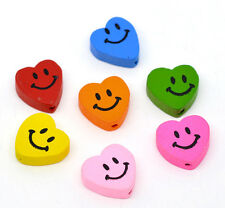 Wholesale Lots Mixed Multicolor Smiling Heart Wood Beads 18x16mm