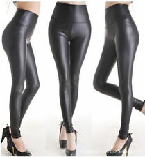 S-3XL Plus Size Black Faux Leather Stretch Work High Waist Pant Legging